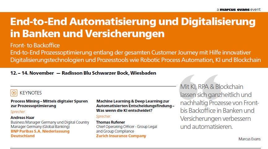 """Marcus Evans Fachkonferenz """"End-to-End Automatisierung & Digitalisierung in Banken und Versicherungen"""""""